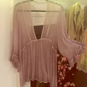 Free People GORGEOUS Sheer Mauve, L